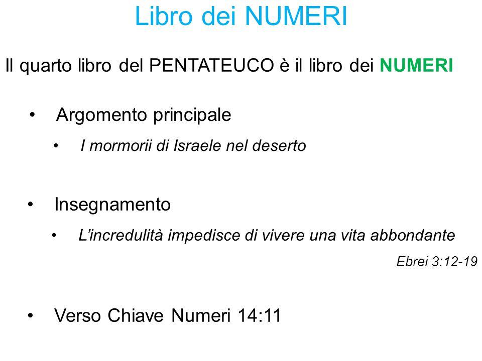 Libro dei NUMERI Il quarto libro del PENTATEUCO è il libro dei NUMERI