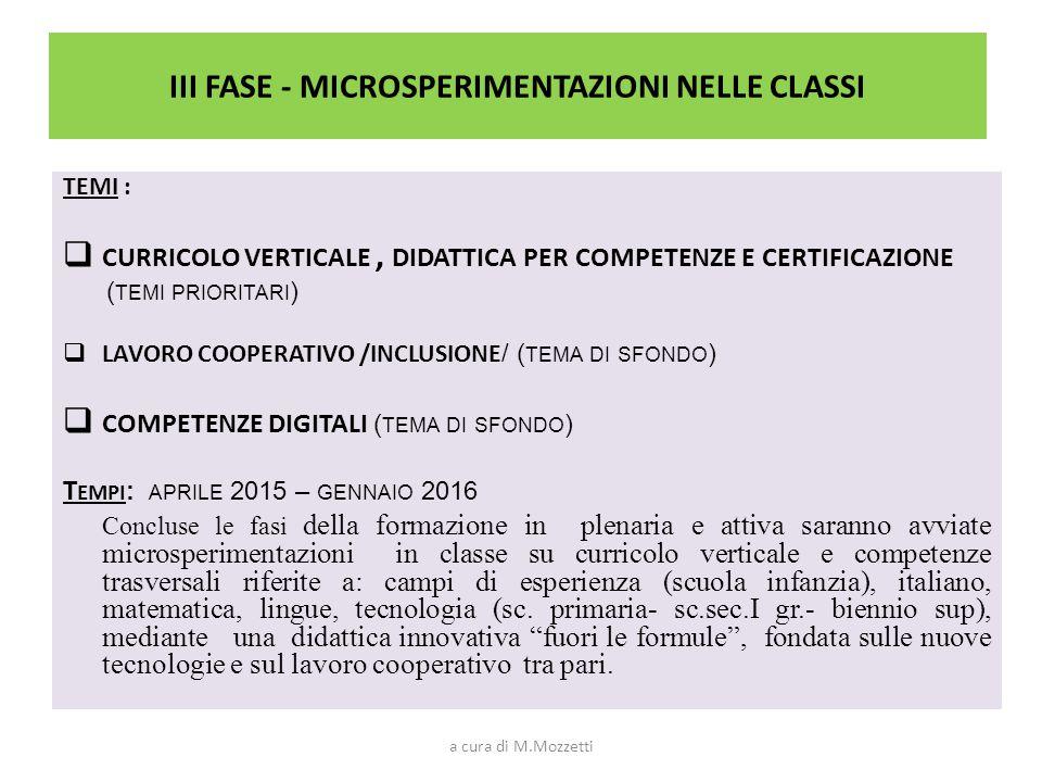 III FASE - MICROSPERIMENTAZIONI NELLE CLASSI