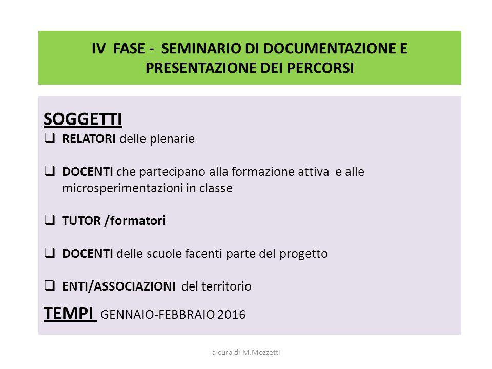 IV FASE - SEMINARIO DI DOCUMENTAZIONE E PRESENTAZIONE DEI PERCORSI