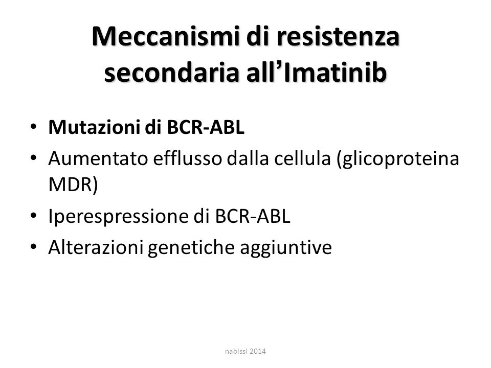 Meccanismi di resistenza secondaria all'Imatinib