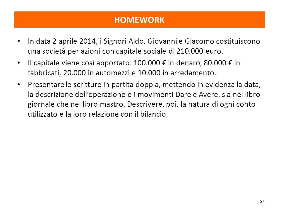 HOMEWORK In data 2 aprile 2014, i Signori Aldo, Giovanni e Giacomo costituiscono una società per azioni con capitale sociale di 210.000 euro.