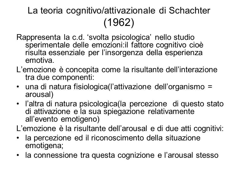 La teoria cognitivo/attivazionale di Schachter (1962)