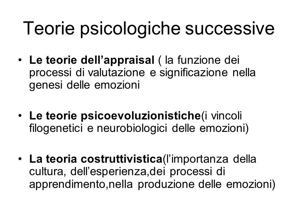 Teorie psicologiche successive
