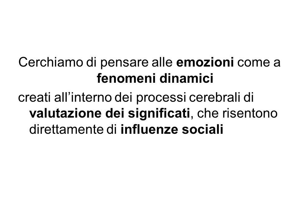 Cerchiamo di pensare alle emozioni come a fenomeni dinamici