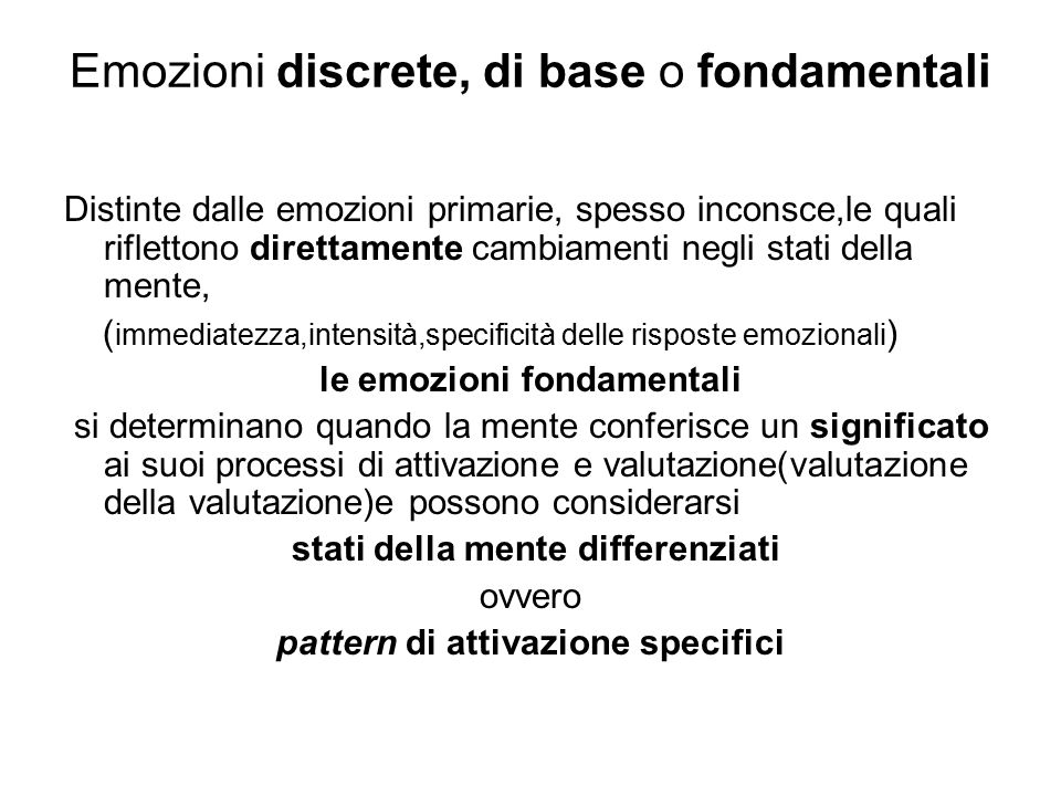 Emozioni discrete, di base o fondamentali