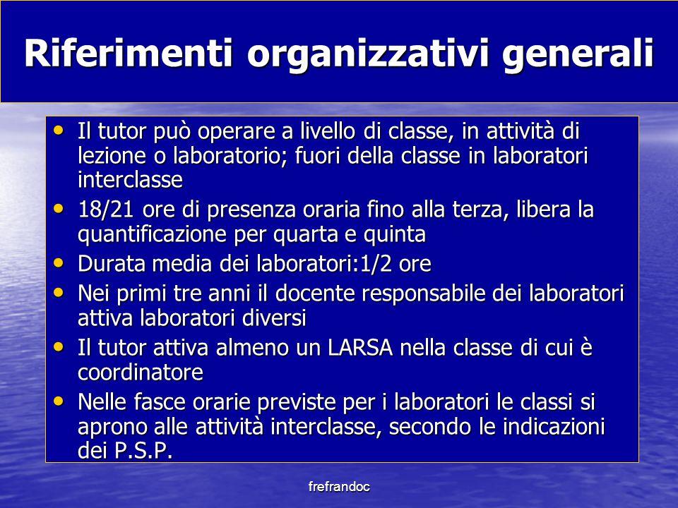 Riferimenti organizzativi generali