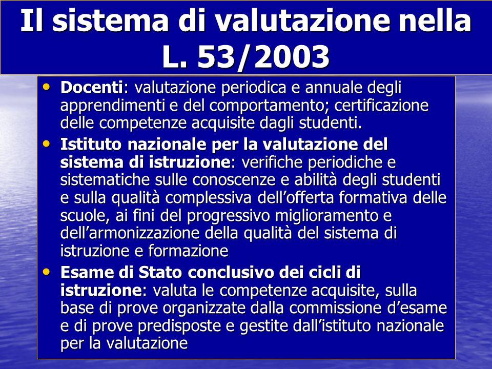 Il sistema di valutazione nella L. 53/2003