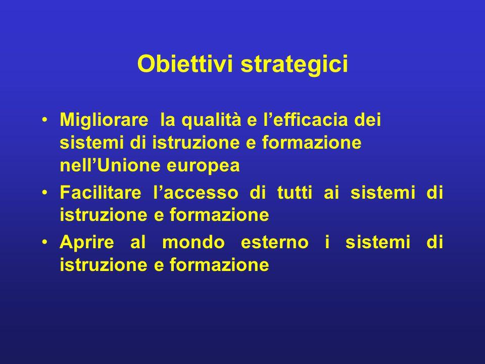 Obiettivi strategici Migliorare la qualità e l'efficacia dei sistemi di istruzione e formazione nell'Unione europea.