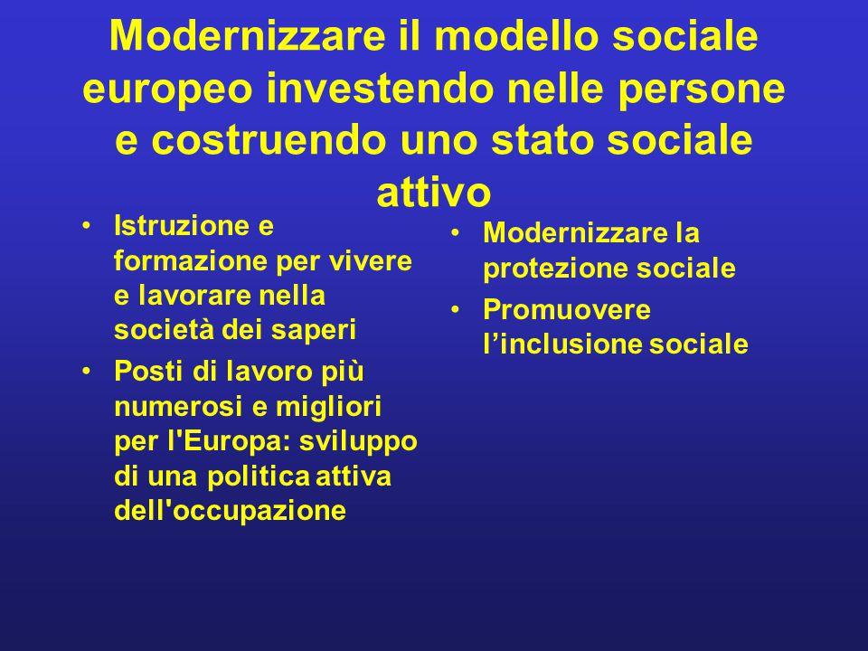 Modernizzare il modello sociale europeo investendo nelle persone e costruendo uno stato sociale attivo