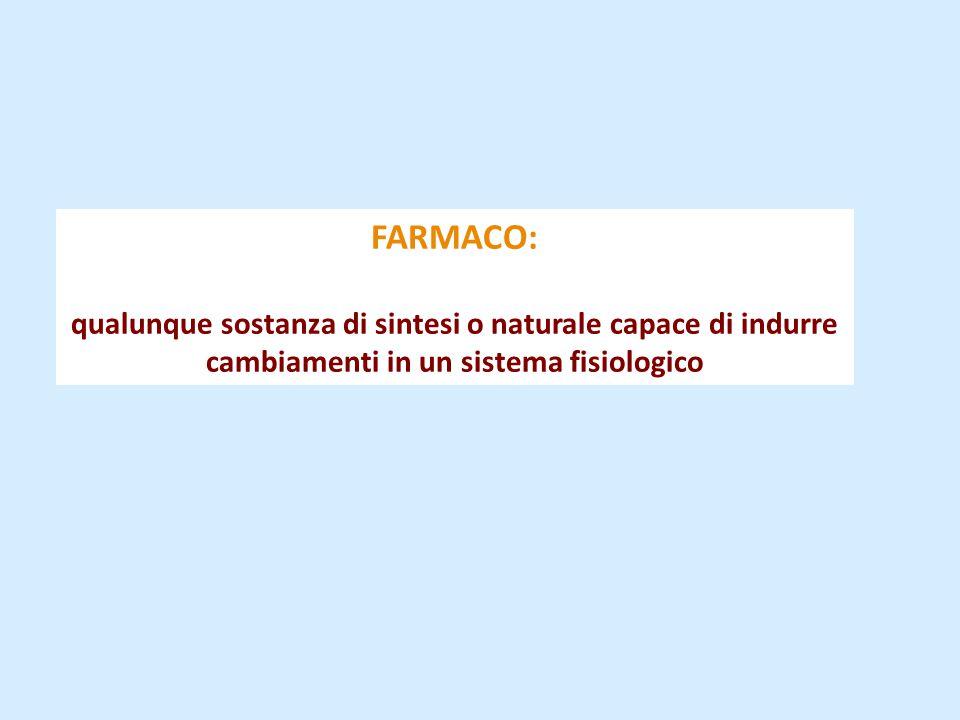 FARMACO: qualunque sostanza di sintesi o naturale capace di indurre cambiamenti in un sistema fisiologico.