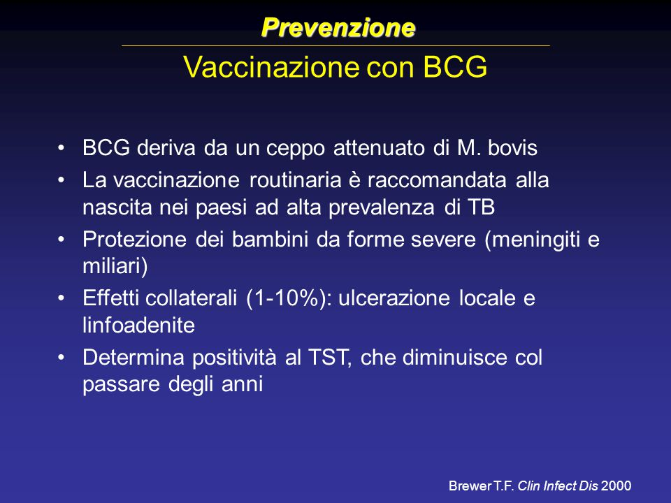 Vaccinazione con BCG Prevenzione