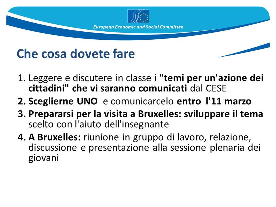 Che cosa dovete fare Leggere e discutere in classe i temi per un azione dei cittadini che vi saranno comunicati dal CESE.