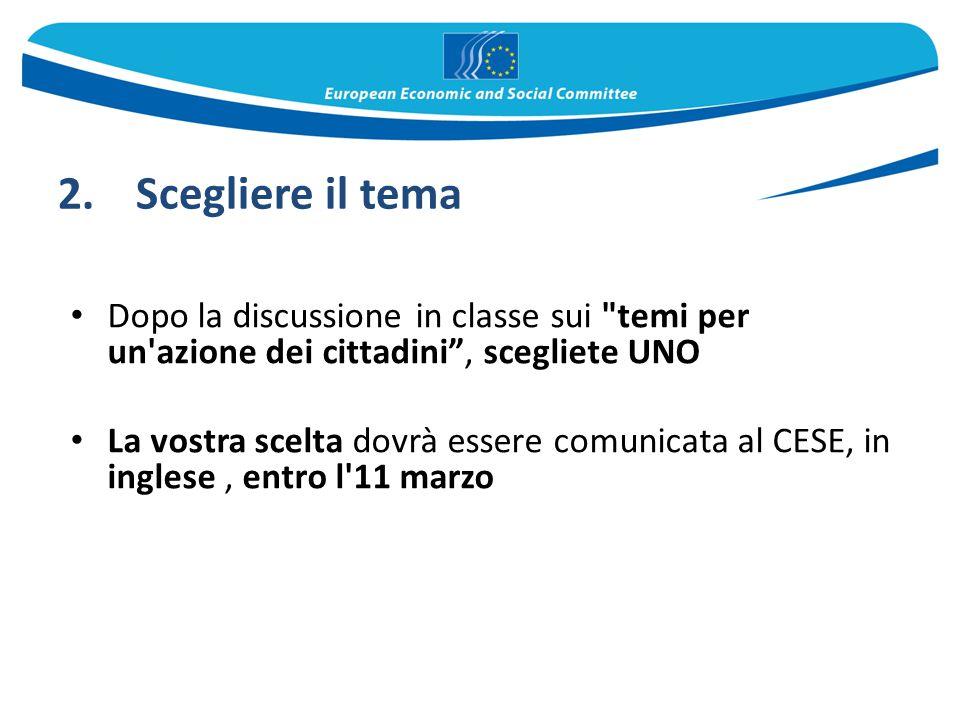 Scegliere il tema Dopo la discussione in classe sui temi per un azione dei cittadini , scegliete UNO.