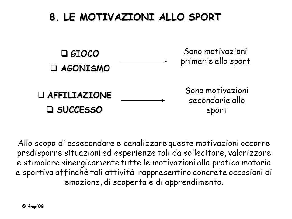8. LE MOTIVAZIONI ALLO SPORT