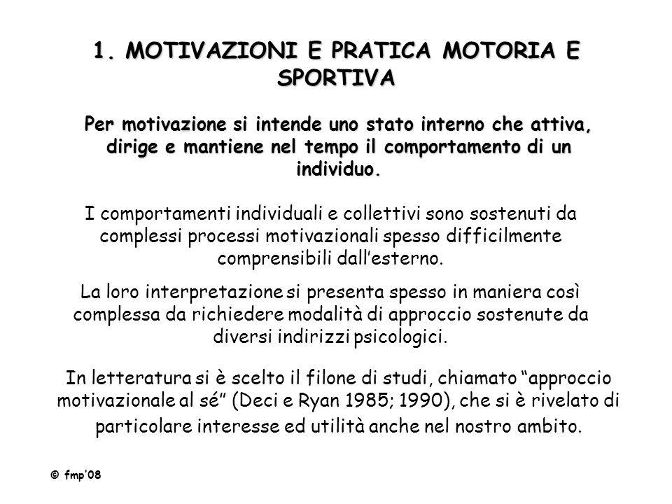 1. MOTIVAZIONI E PRATICA MOTORIA E SPORTIVA