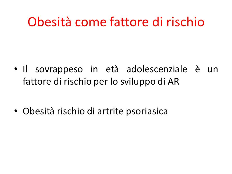 Obesità come fattore di rischio