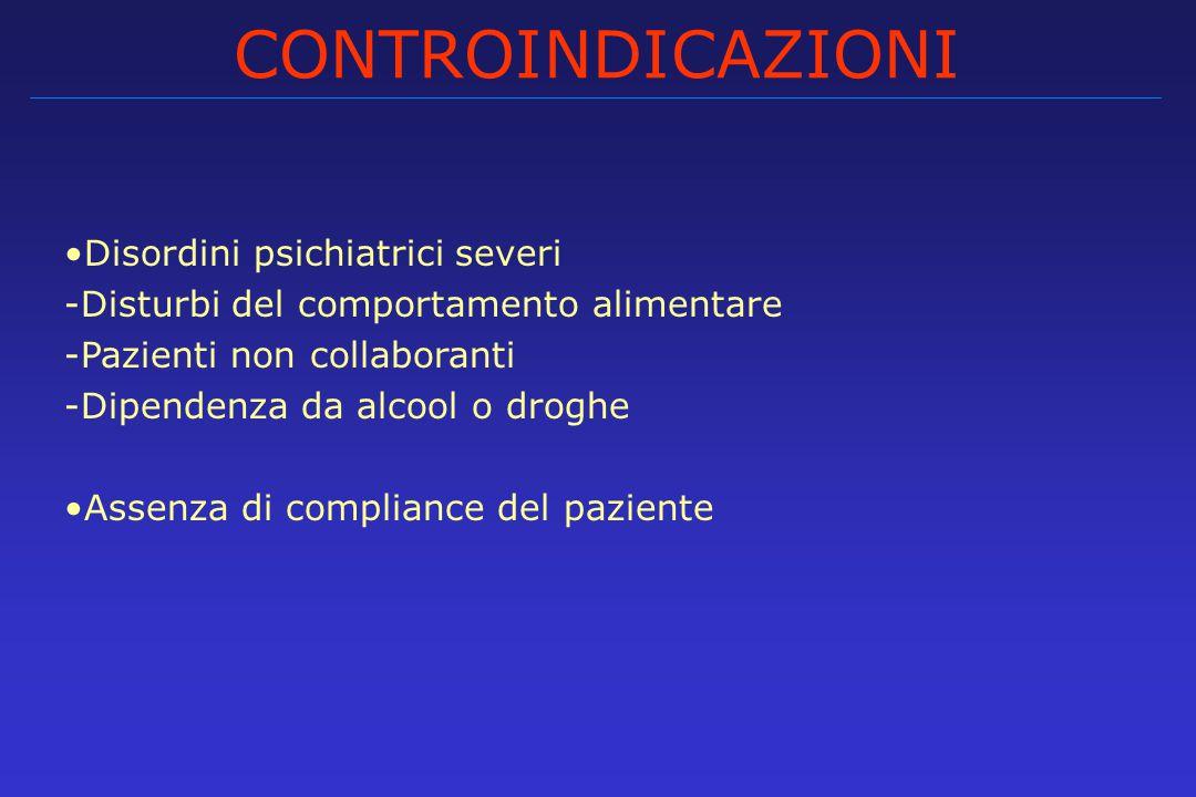 CONTROINDICAZIONI Disordini psichiatrici severi