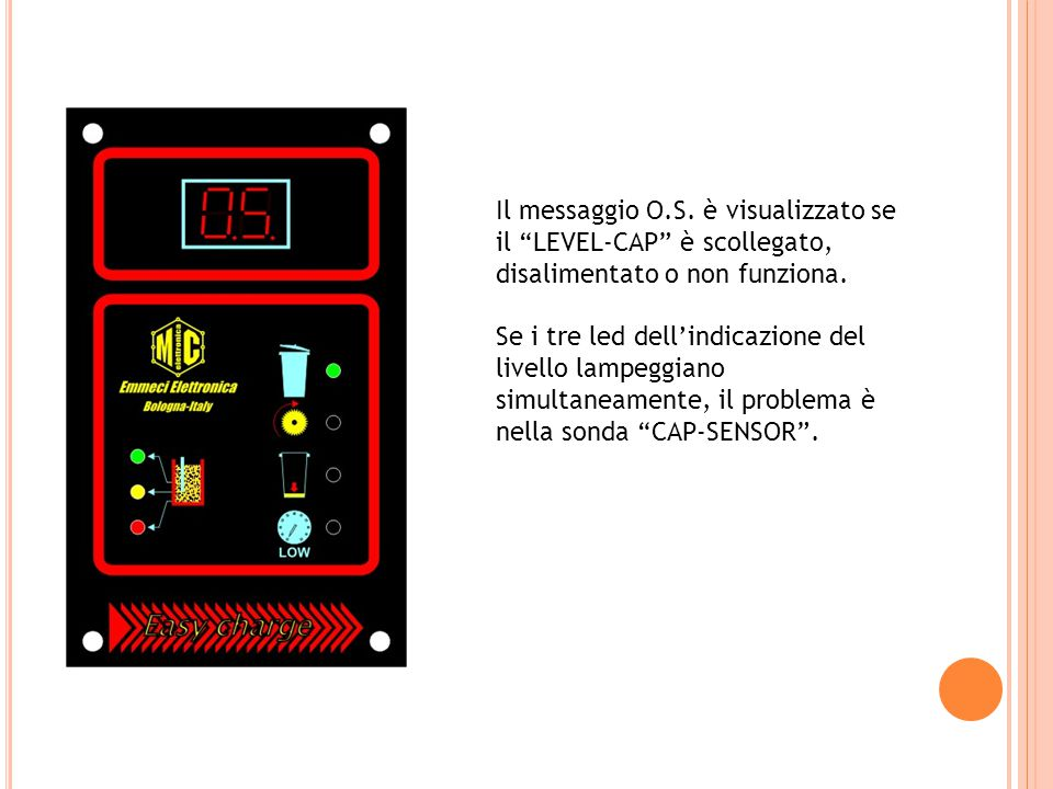 Il messaggio O.S. è visualizzato se il LEVEL-CAP è scollegato, disalimentato o non funziona.