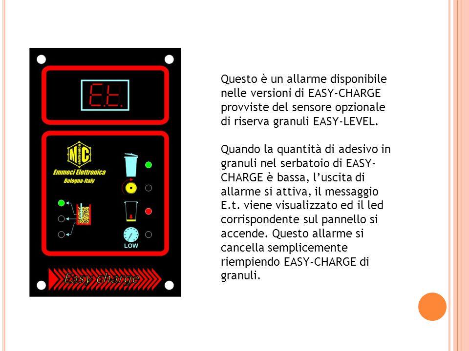 Questo è un allarme disponibile nelle versioni di EASY-CHARGE provviste del sensore opzionale di riserva granuli EASY-LEVEL.