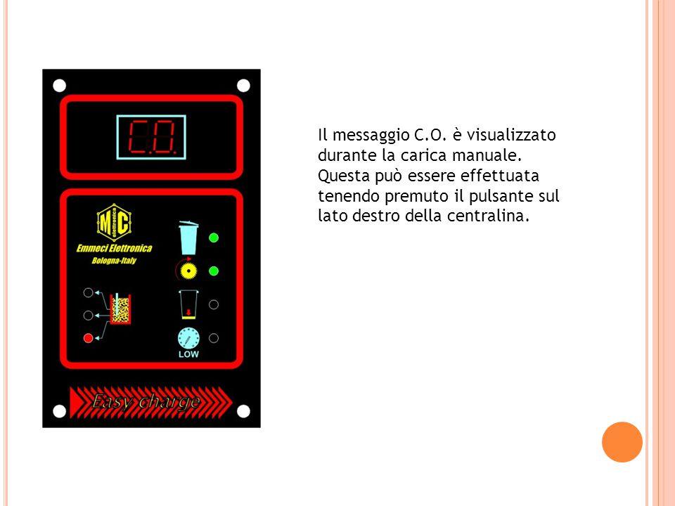 Il messaggio C.O. è visualizzato durante la carica manuale.