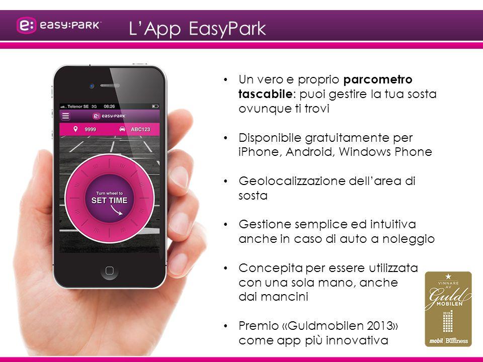 L'App EasyPark Un vero e proprio parcometro tascabile: puoi gestire la tua sosta ovunque ti trovi.