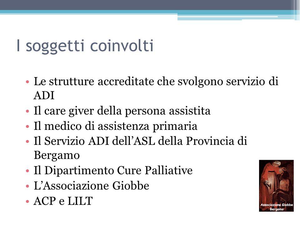 I soggetti coinvolti Le strutture accreditate che svolgono servizio di ADI. Il care giver della persona assistita.