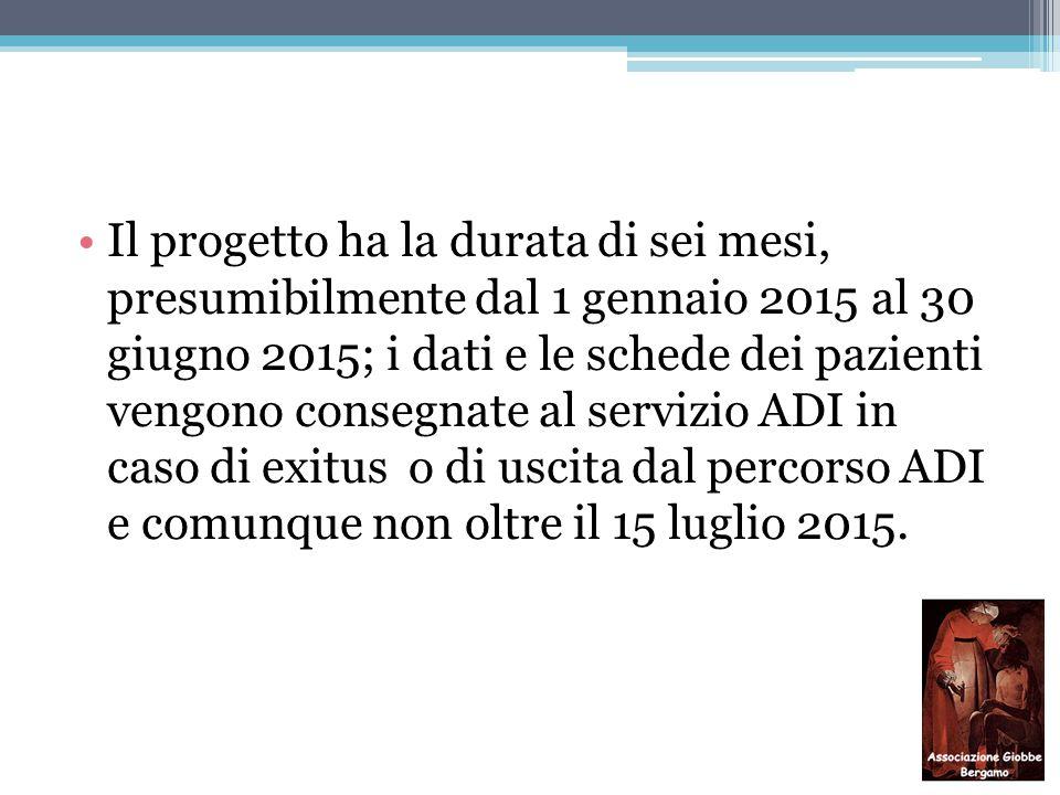 Il progetto ha la durata di sei mesi, presumibilmente dal 1 gennaio 2015 al 30 giugno 2015; i dati e le schede dei pazienti vengono consegnate al servizio ADI in caso di exitus o di uscita dal percorso ADI e comunque non oltre il 15 luglio 2015.