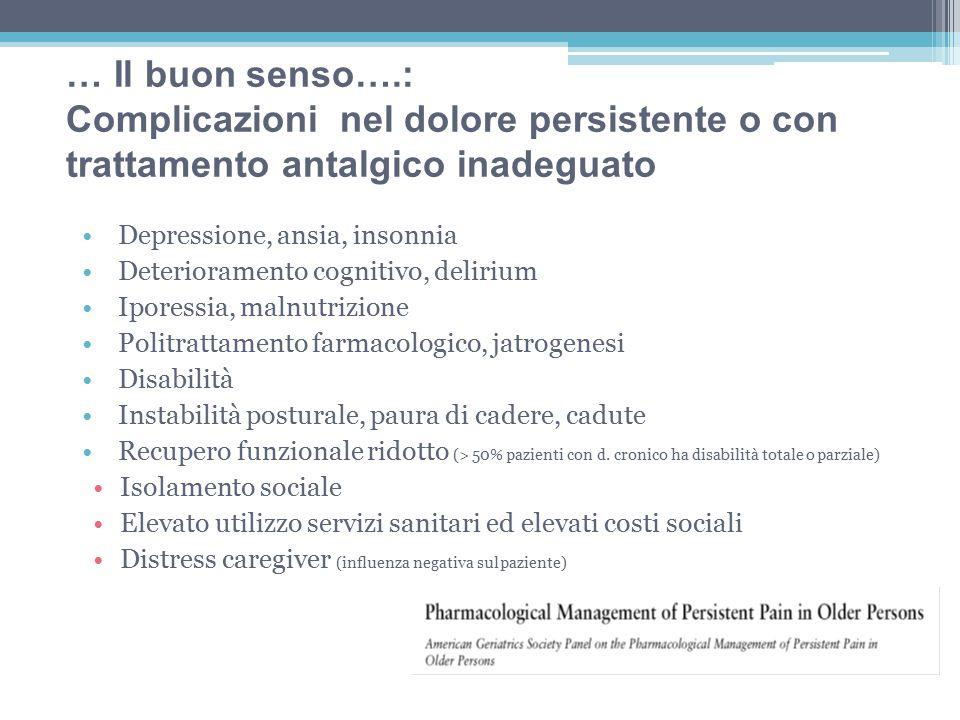 … Il buon senso….: Complicazioni nel dolore persistente o con trattamento antalgico inadeguato. Depressione, ansia, insonnia.