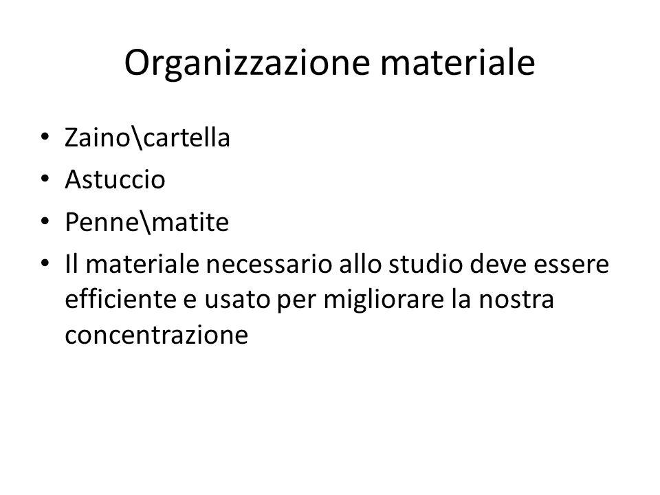 Organizzazione materiale