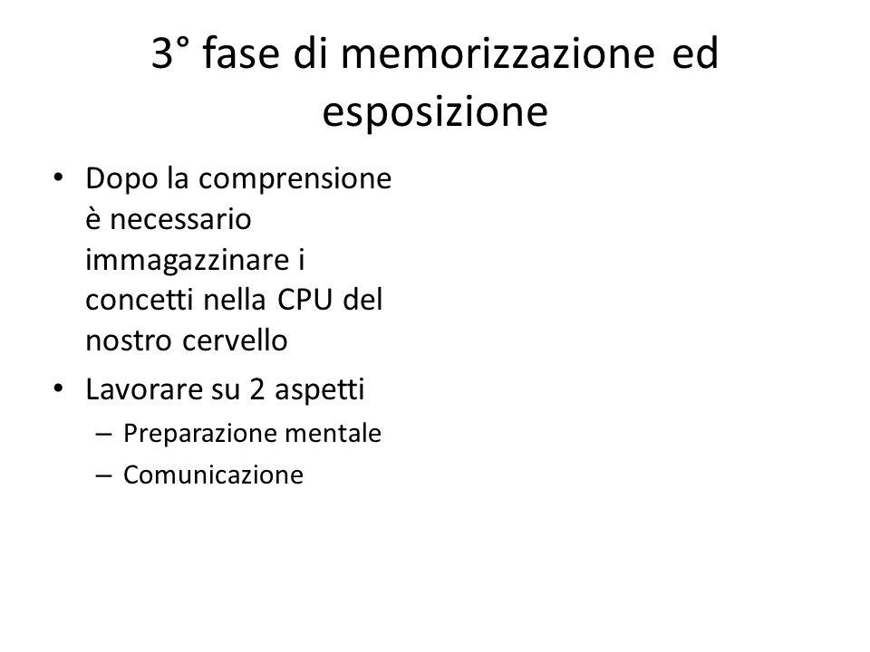 3° fase di memorizzazione ed esposizione