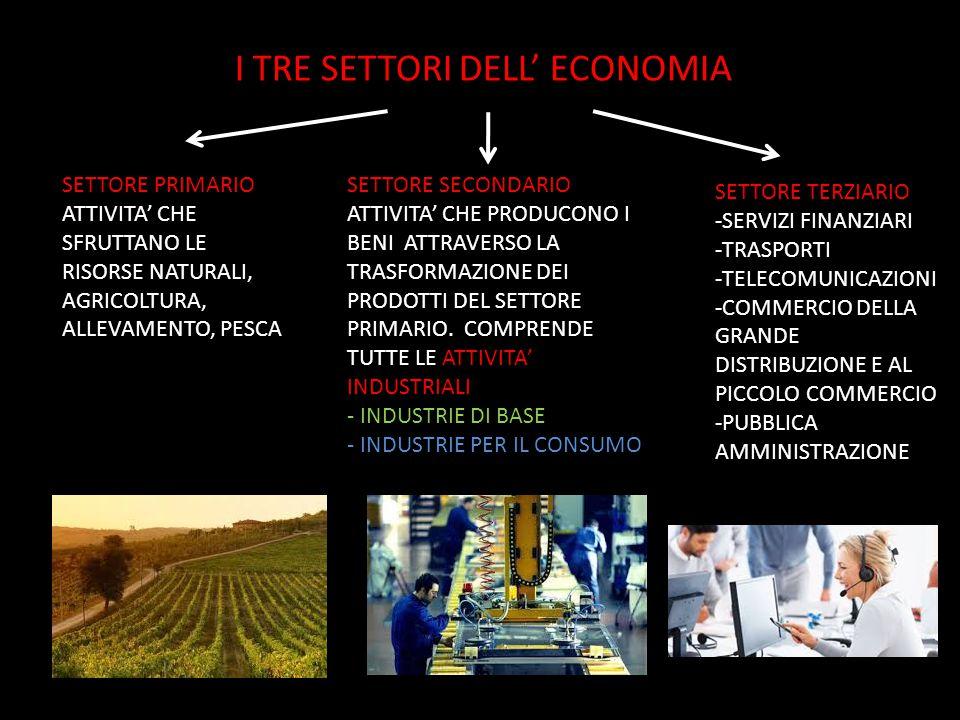 I TRE SETTORI DELL' ECONOMIA