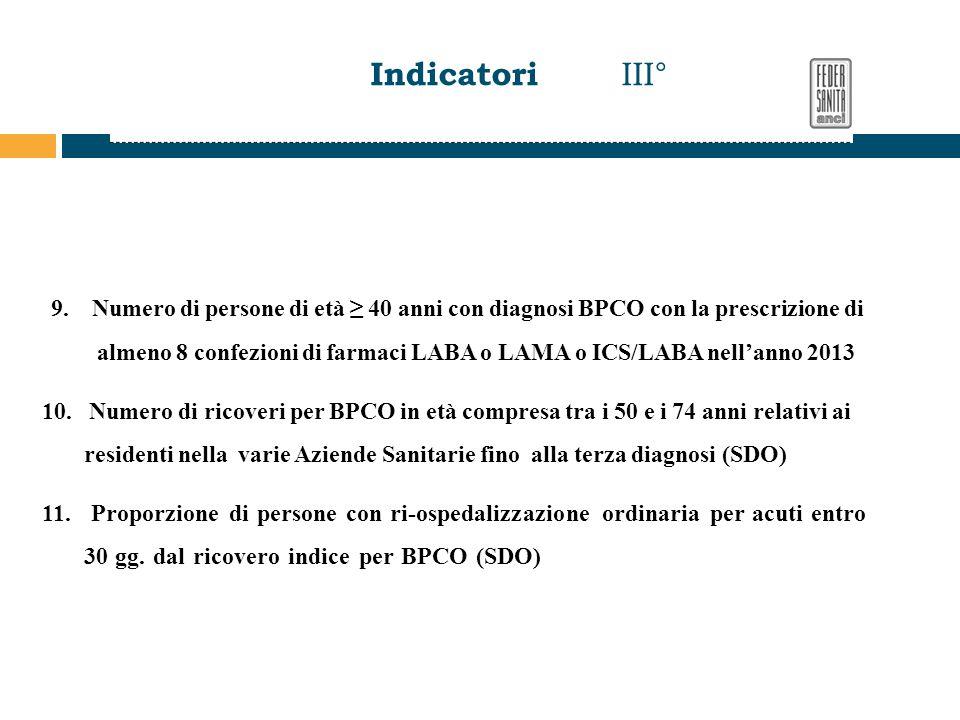 Indicatori III° 9. Numero di persone di età ≥ 40 anni con diagnosi BPCO con la prescrizione di.