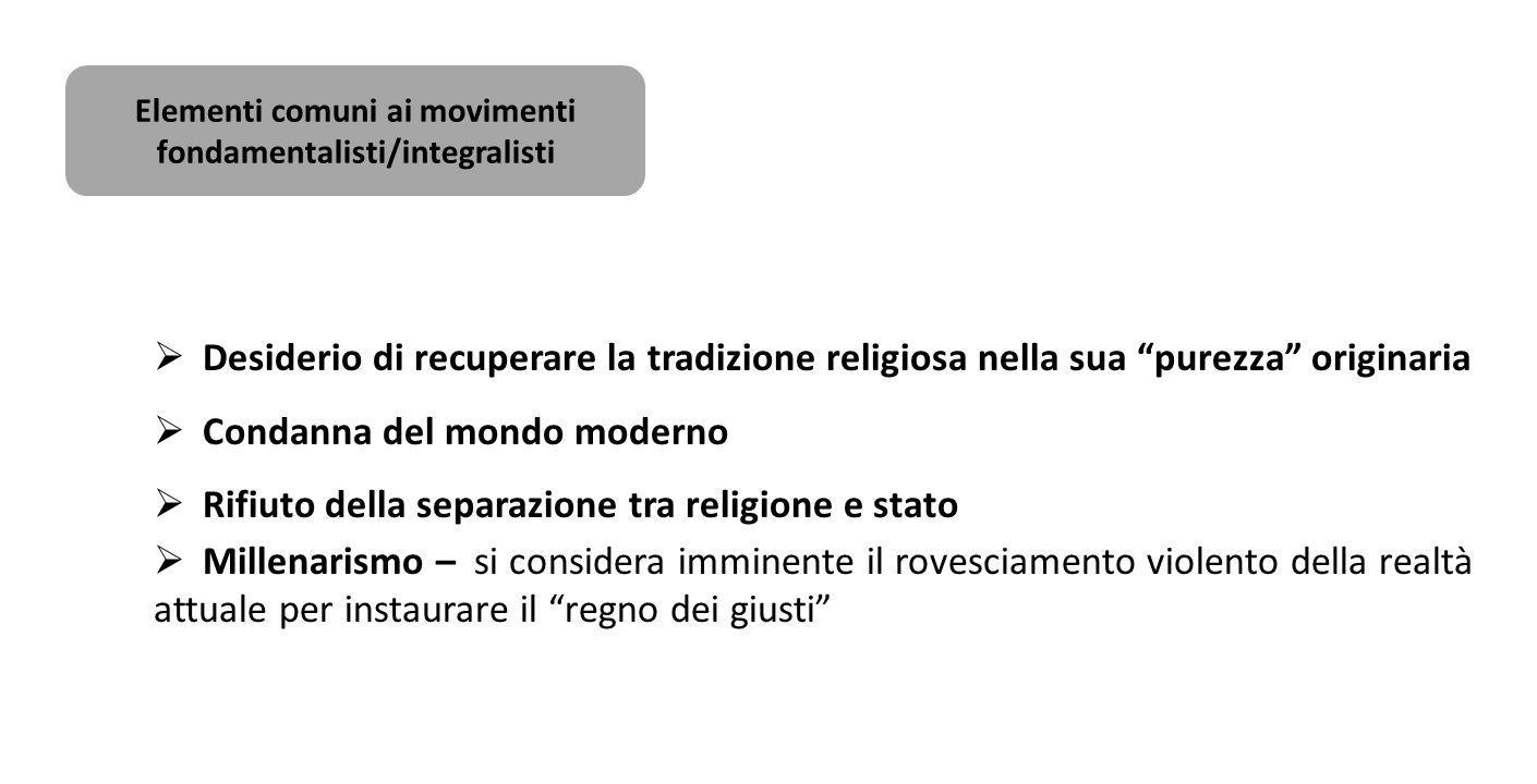 Elementi comuni ai movimenti fondamentalisti/integralisti