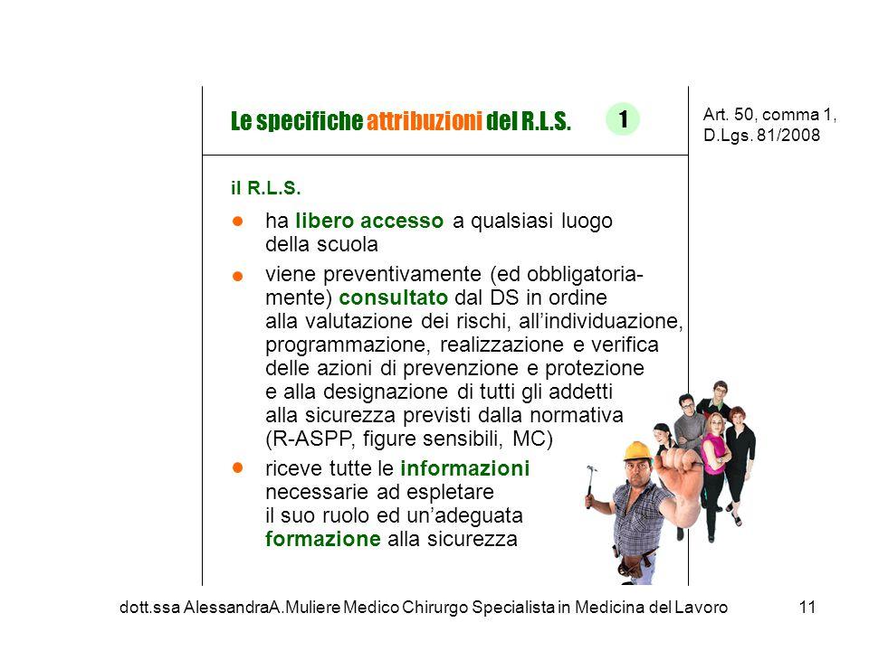 Le specifiche attribuzioni del R.L.S.