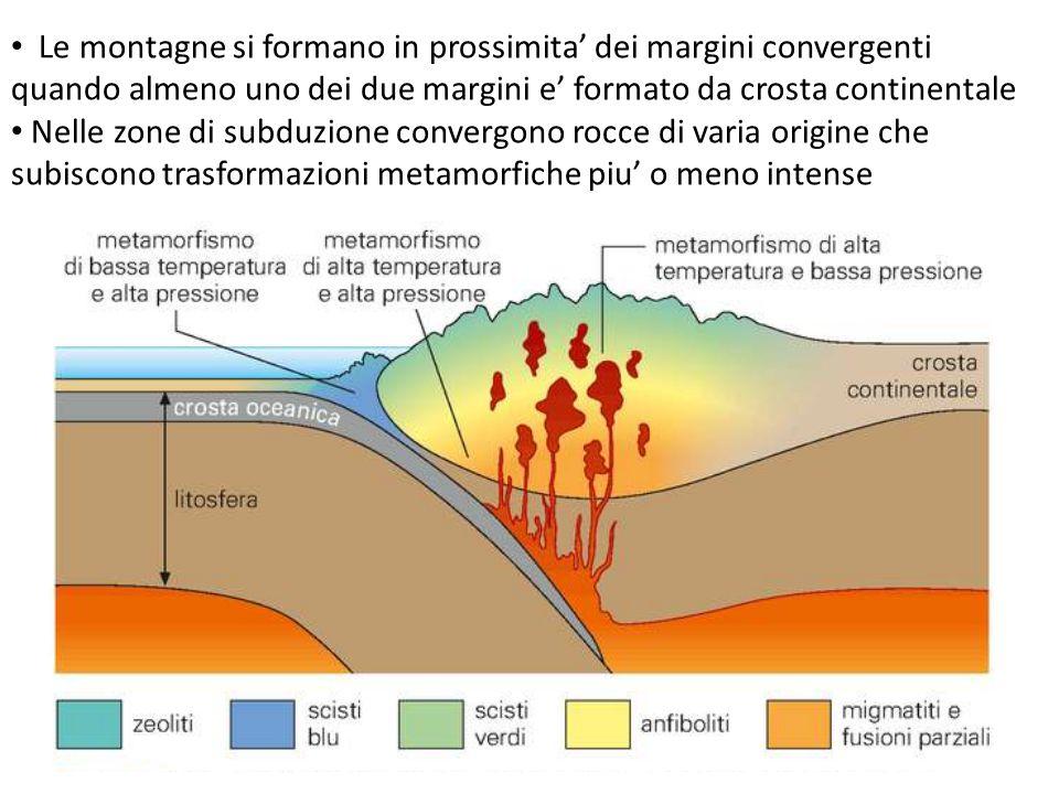 Le montagne si formano in prossimita' dei margini convergenti quando almeno uno dei due margini e' formato da crosta continentale