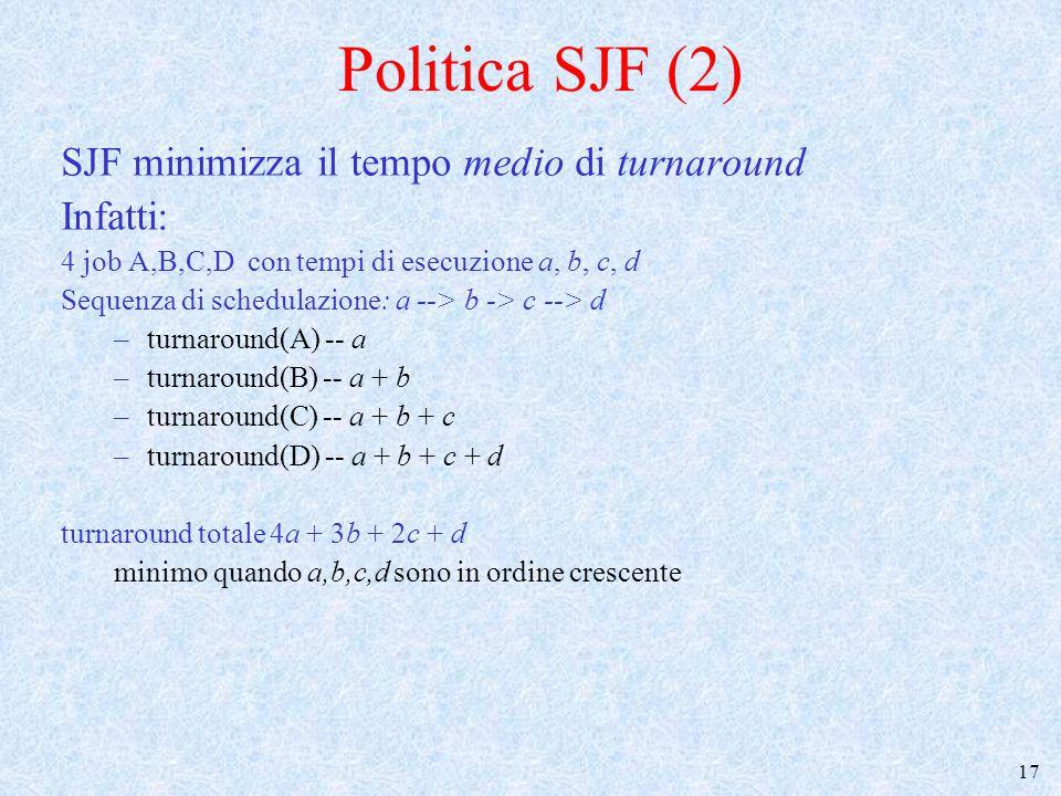 Politica SJF (2) SJF minimizza il tempo medio di turnaround Infatti: