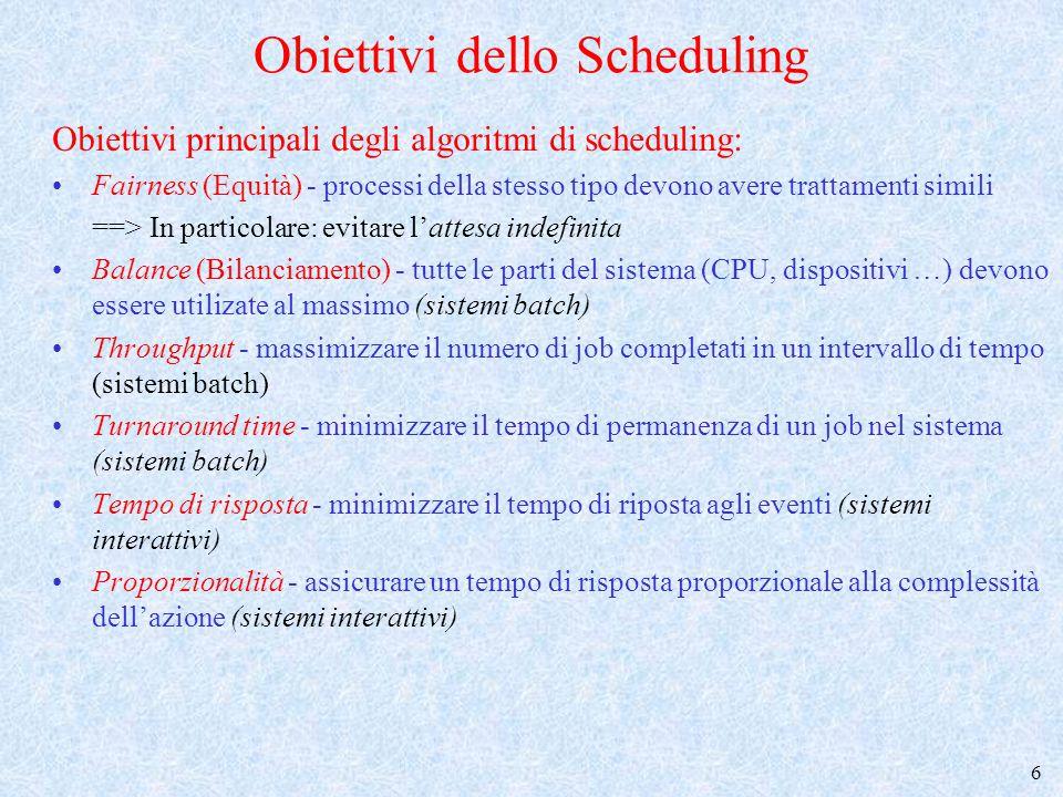 Obiettivi dello Scheduling