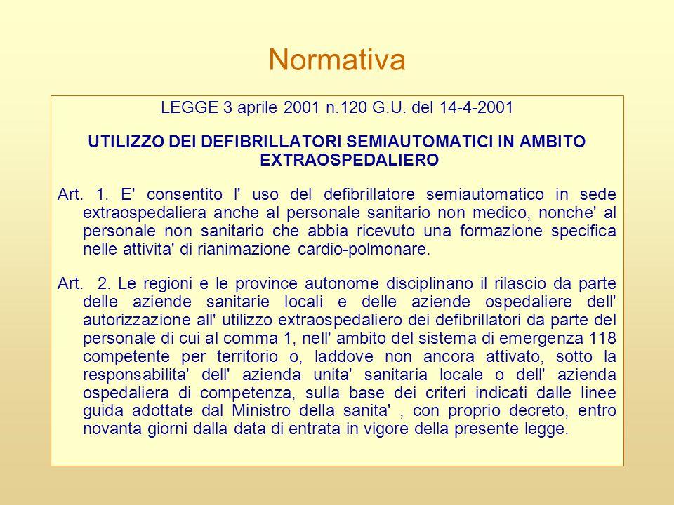 UTILIZZO DEI DEFIBRILLATORI SEMIAUTOMATICI IN AMBITO EXTRAOSPEDALIERO