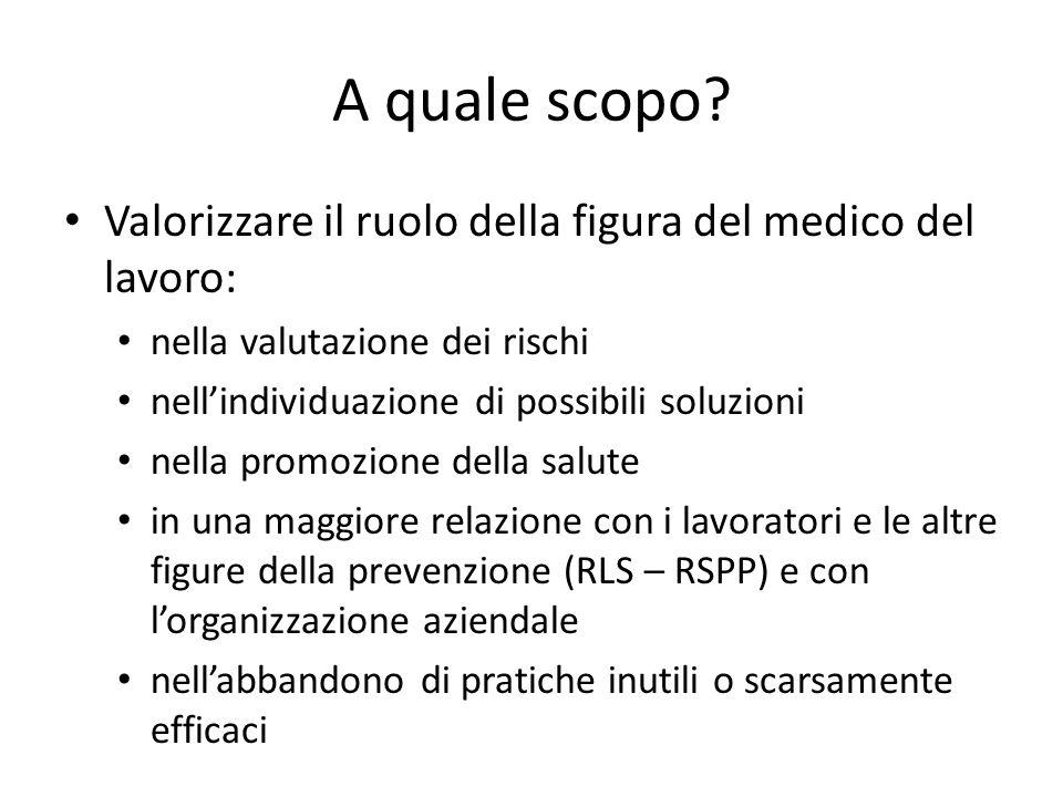 A quale scopo Valorizzare il ruolo della figura del medico del lavoro: nella valutazione dei rischi.
