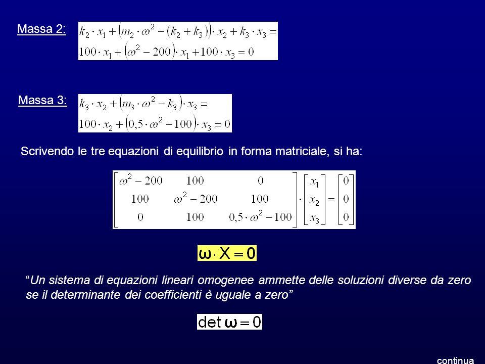 Scrivendo le tre equazioni di equilibrio in forma matriciale, si ha: