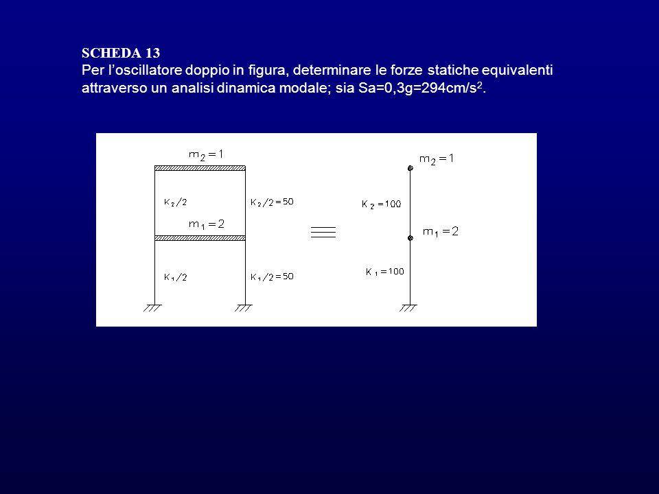 SCHEDA 13Per l'oscillatore doppio in figura, determinare le forze statiche equivalenti attraverso un analisi dinamica modale; sia Sa=0,3g=294cm/s2.