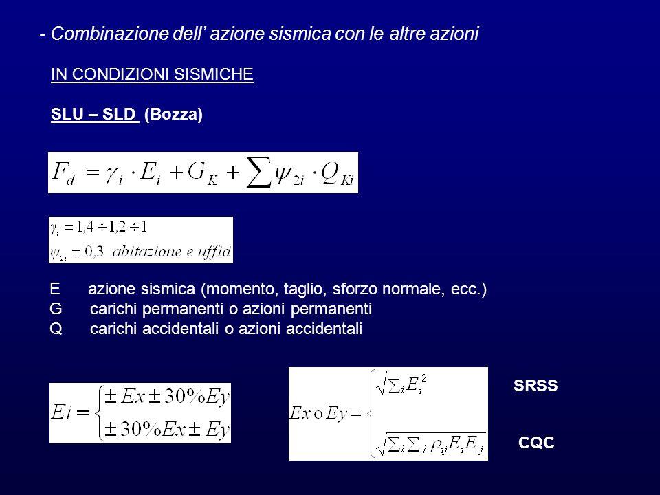 - Combinazione dell' azione sismica con le altre azioni