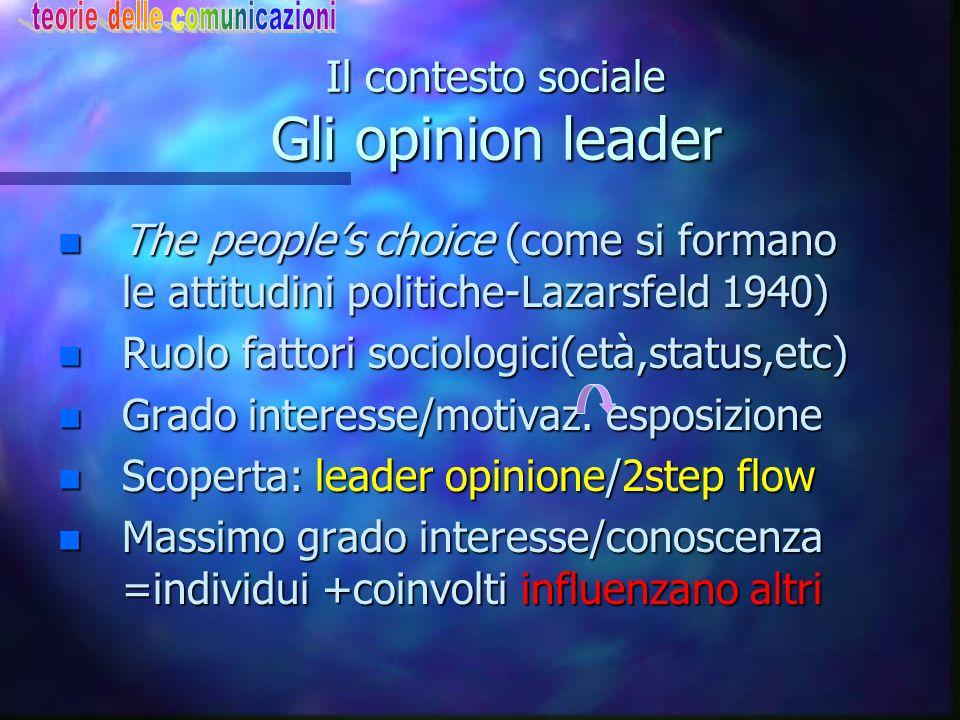 Il contesto sociale Gli opinion leader