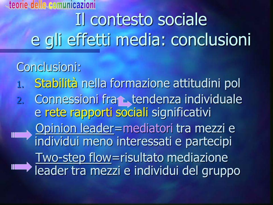 Il contesto sociale e gli effetti media: conclusioni