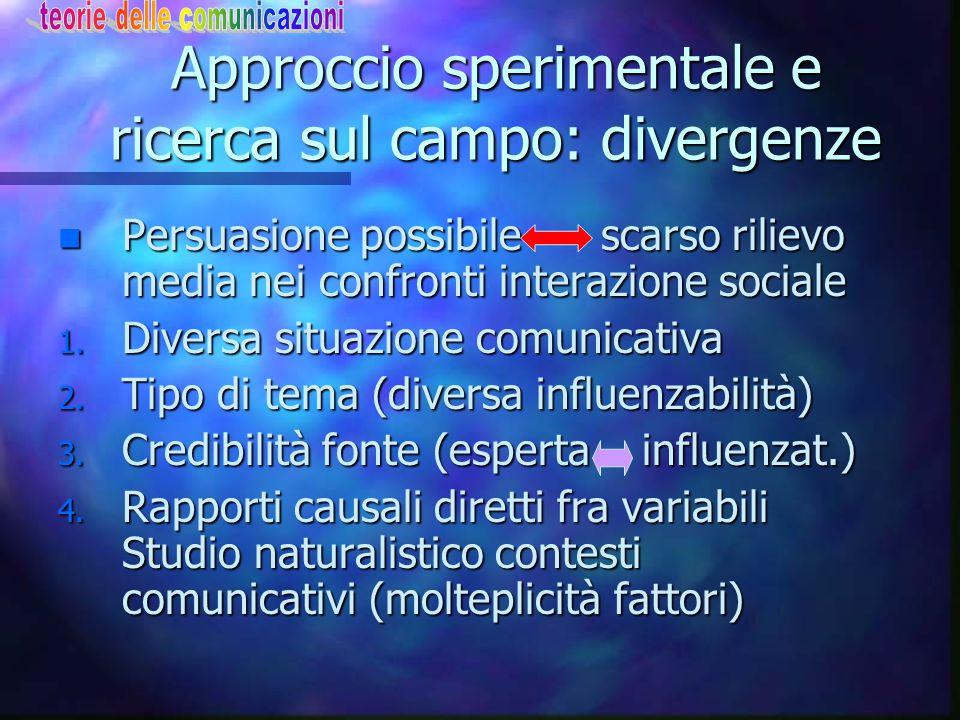 Approccio sperimentale e ricerca sul campo: divergenze