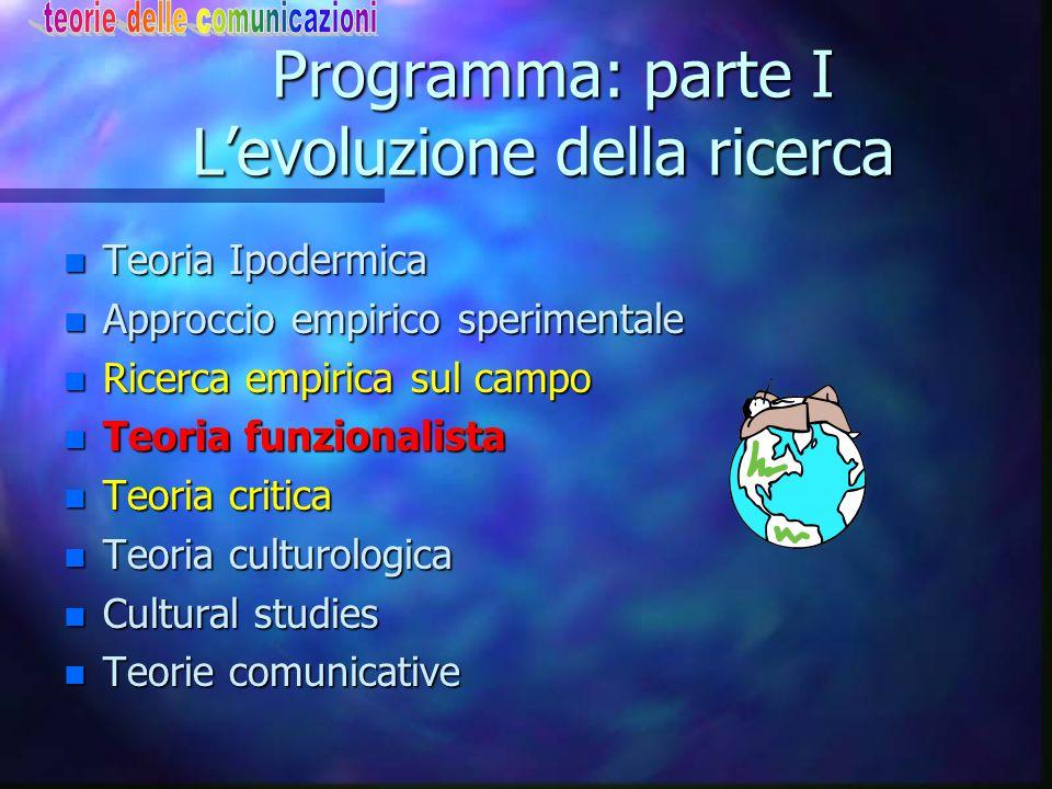 Programma: parte I L'evoluzione della ricerca