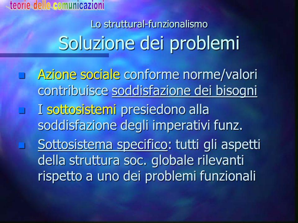 Lo struttural-funzionalismo Soluzione dei problemi