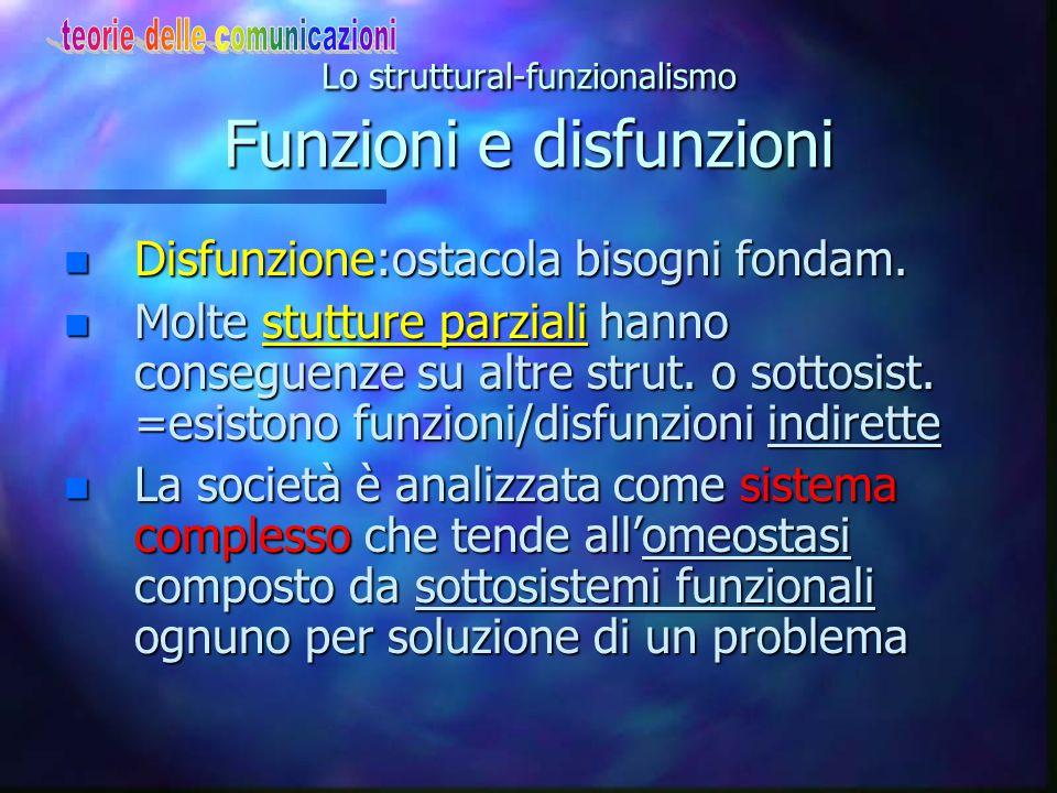 Lo struttural-funzionalismo Funzioni e disfunzioni
