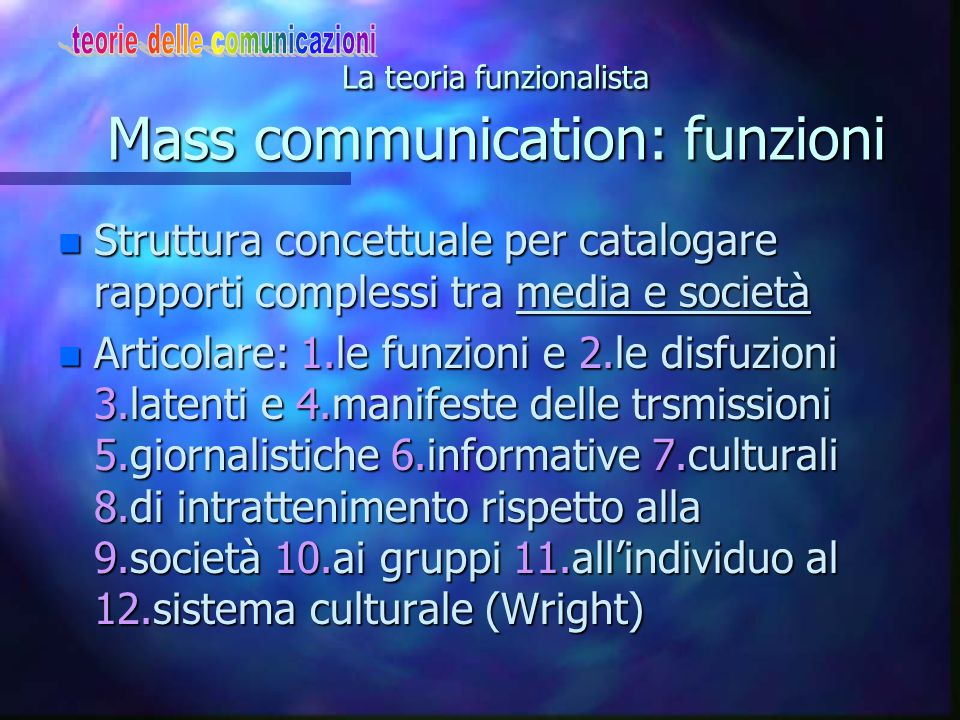 La teoria funzionalista Mass communication: funzioni