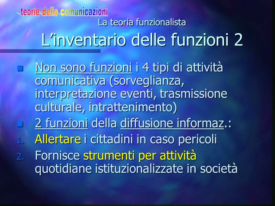 La teoria funzionalista L'inventario delle funzioni 2